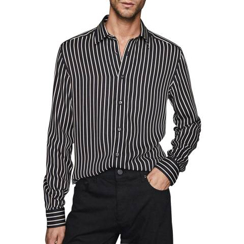 Reiss Black Bold Stripe Slim Fit Shirt