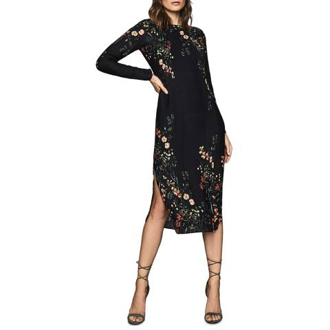 Reiss Black Petra Floral Midi Dress