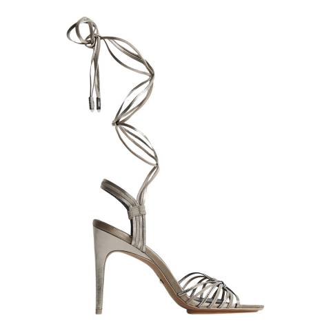 Reiss Silver Cassidy Strappy Leather Heels