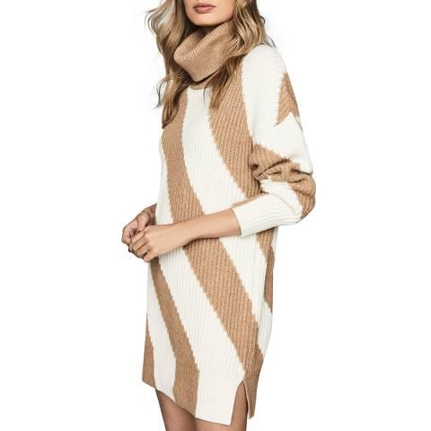Reiss Camel Alba Wool Blend Jumper Dress