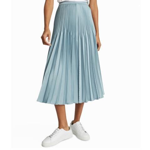 Reiss Blue Diana Embellished Pleat Skirt