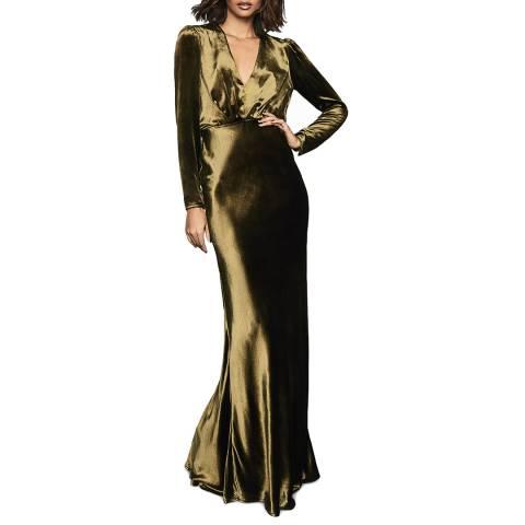 Reiss Khaki Klara Maxi Dress