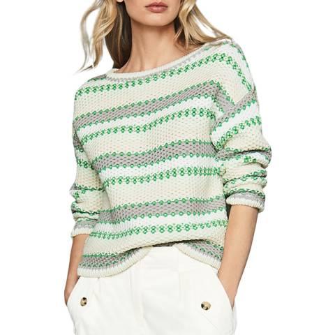Reiss Green/White Anna Cotton Blend Jumper