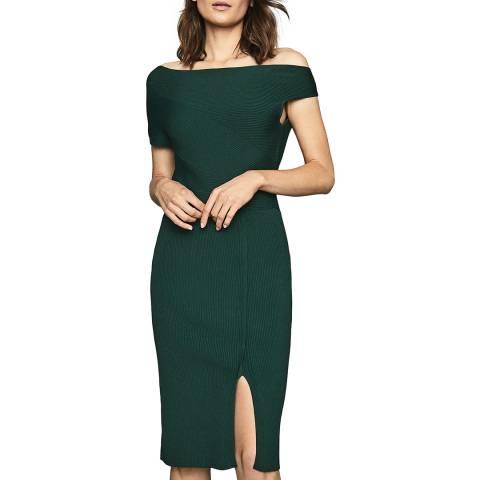 Reiss Dark Green Lavina Knit Dress