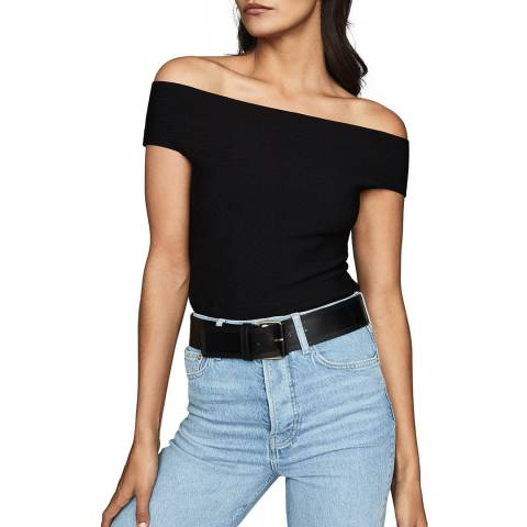 Reiss Black Megan Knit Top