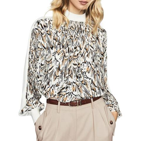 Reiss White/Multi Magda Feather Top