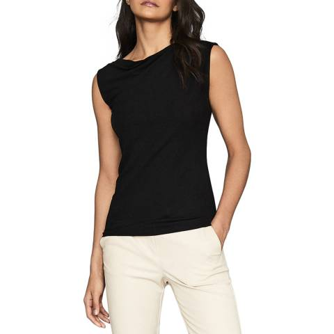 Reiss Black Flavia Drape Top