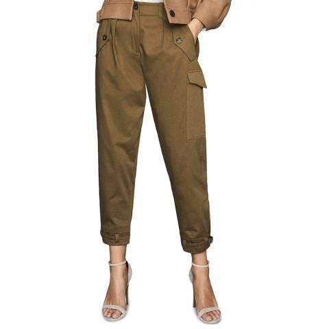 Reiss Khaki Bleeker Utility Tapered Stretch Trousers