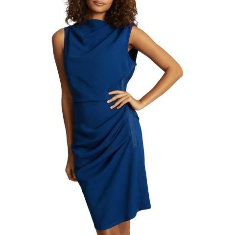 Reiss Blue Bali Ruched Dress