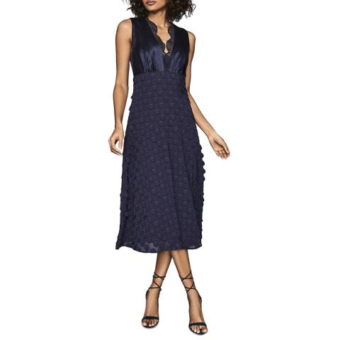Reiss Navy Leni Spot Dress