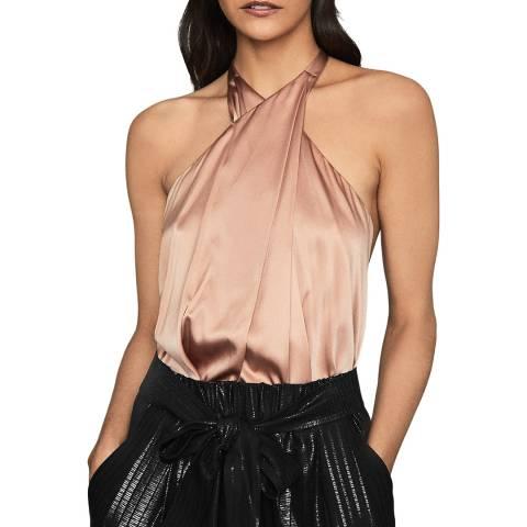 Reiss Blush Lucienne Silk Satin Bodysuit