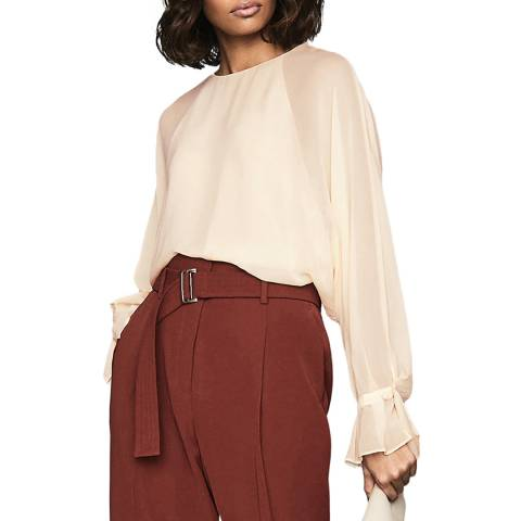 Reiss Peach Eboni Layered Blouse