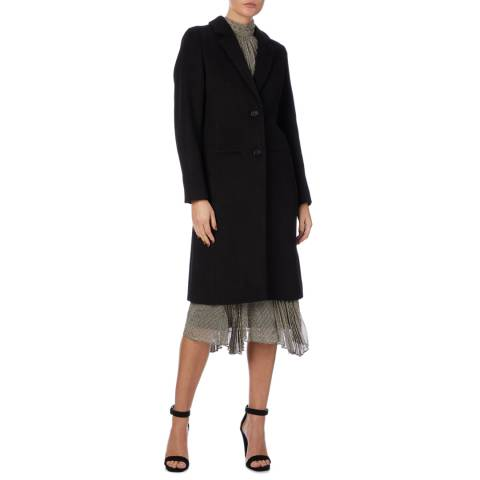 Reiss Black Adriana Crombie Wool Blend Coat
