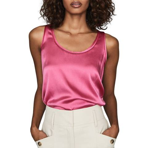 Reiss Pink Remey Silk Blend Front Top