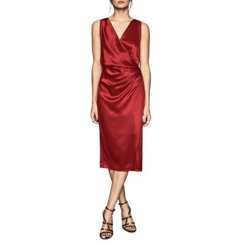Reiss Red Luciene Drape Dress