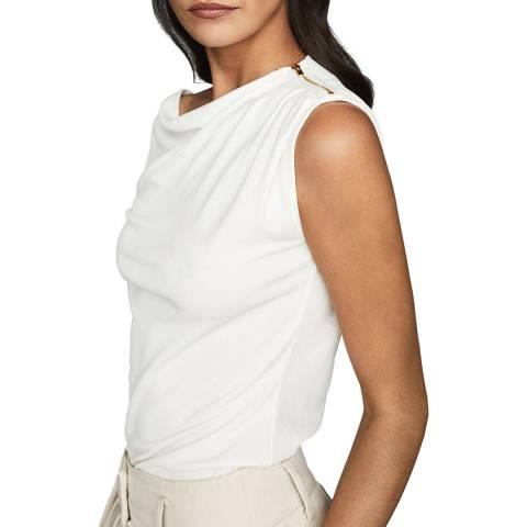 Reiss White Flavia Drape Top