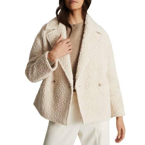 Reiss Off White Scarlet Wool Blend Coat
