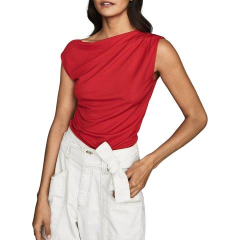 Reiss Red Flavia Drape Top
