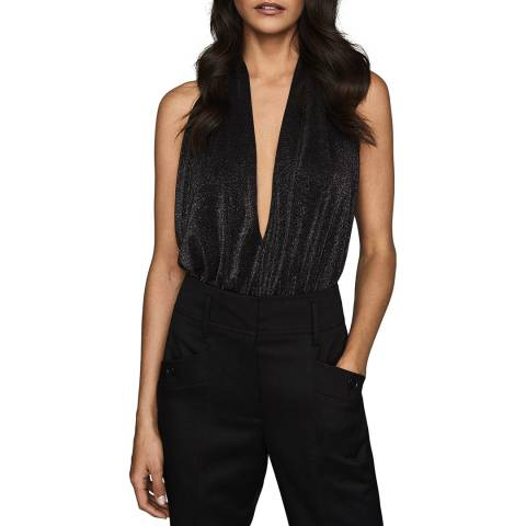 Reiss Black Cleona Metallic Bodysuit