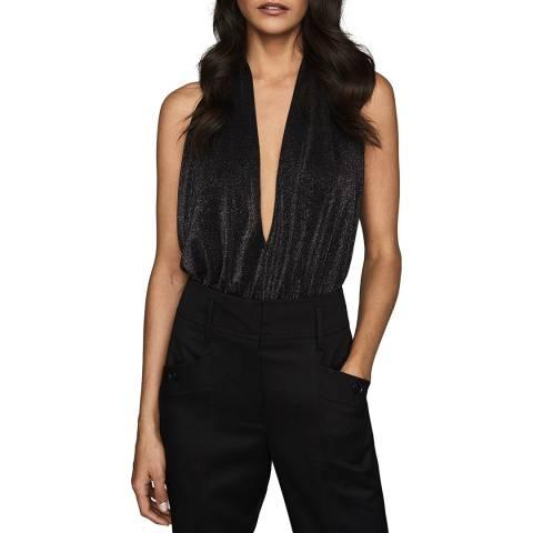 Reiss Black Cleona Metallic Bodysuit