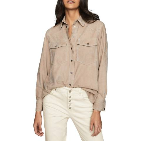 Reiss Nude Sia Suede Shirt
