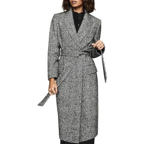 Reiss Black/White Marnie Wool Blend Tweed Coat