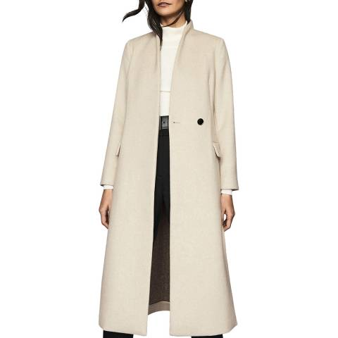 Reiss Cream Willow Wool Blend Coat