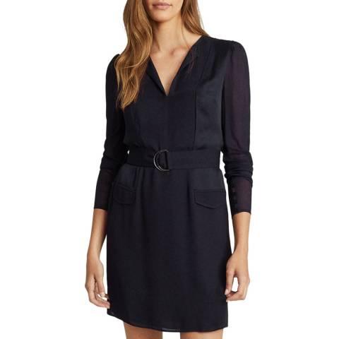 Reiss Navy Addison Soft Belt Dress
