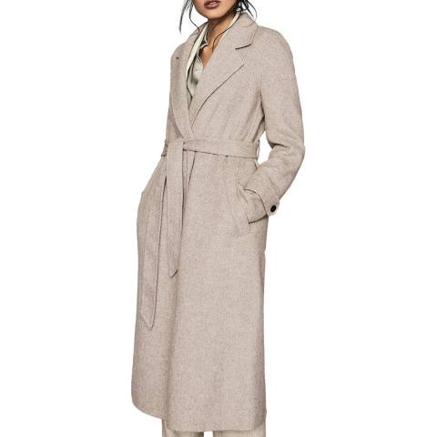 Reiss Oatmeal Lily Textured Wool Blend Coat