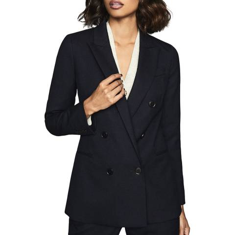 Reiss Navy Hartley Textured Wool Blend Blazer