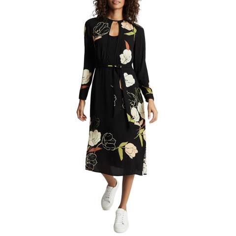 Reiss Black Arley Floral Dress