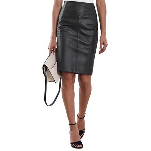 Reiss Black Megan Leather Pencil Skirt