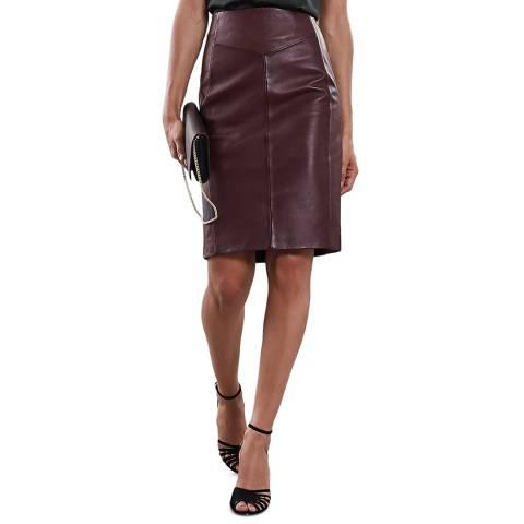 Reiss Ox Blood Megan Leather Pencil Skirt