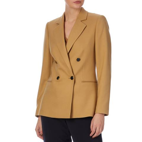 Reiss Camel Andrea Double Breasted Blazer