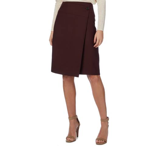 Reiss Bordeaux Alessia Wrap Wool Blend Skirt