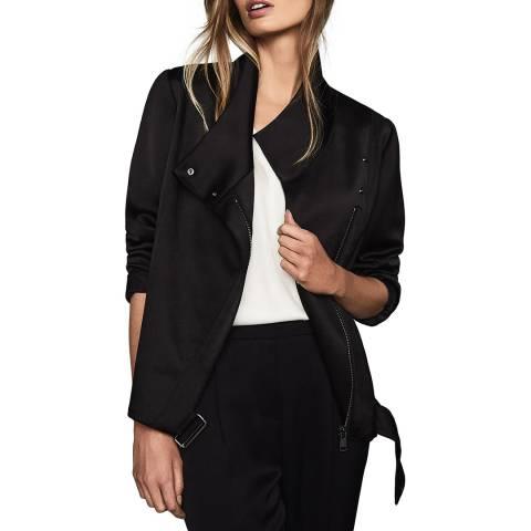 Reiss Black Harriet Soft Biker Jacket