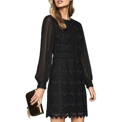 Reiss Black Aria Lace Dress