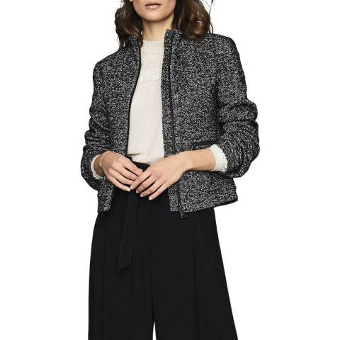 Reiss Black/White Suri Textured Bomber Jacket