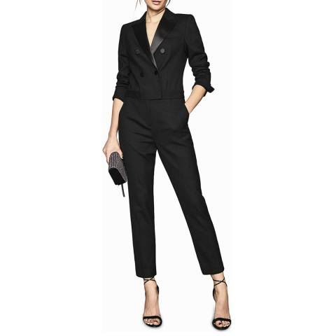 Reiss Black Marianna Tux Wool Blend Jumpsuit