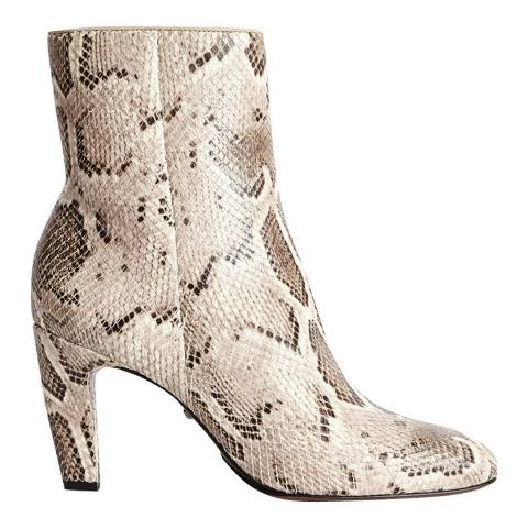 Reiss Multi Sophia Snake Print Leather Ankle Boots