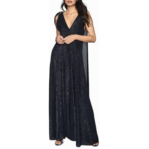 Reiss Navy Vivienne Lurex Maxi Dress