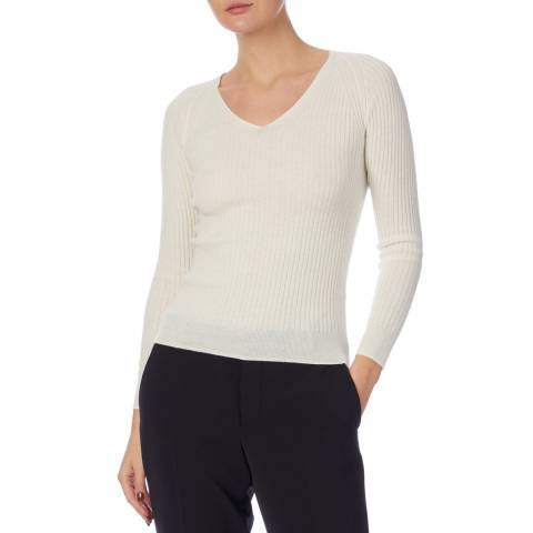 Reiss Cream Elouise Ribbed Jumper