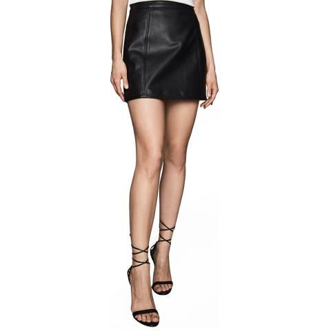 Reiss Black Arden Leather Mini Skirt