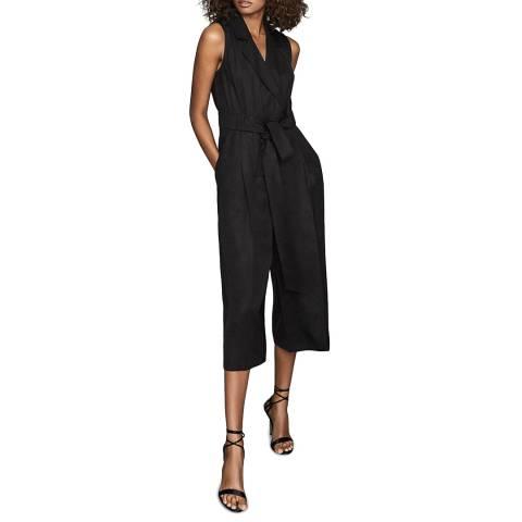 Reiss Black Malika Culotte Jumpsuit