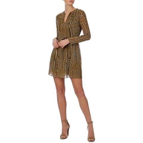 Reiss Khaki Elvina Mini Printed Dress