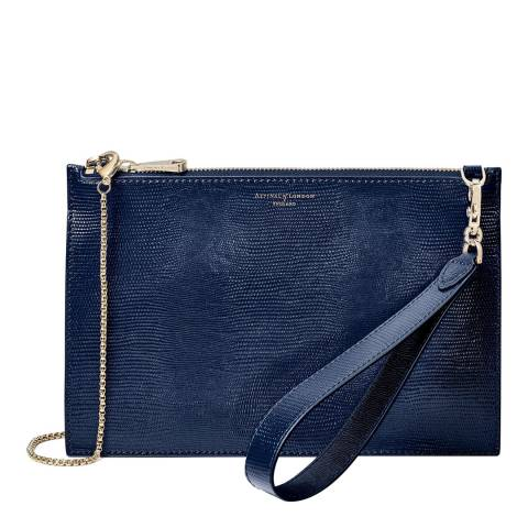 Aspinal of London Midnight Blue Lizard Soho Bag