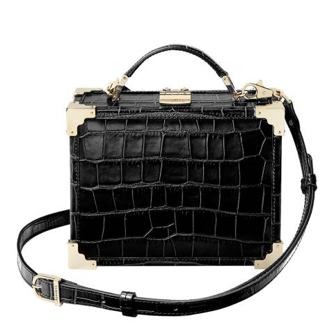Aspinal of London Black Croc Trunk Bag