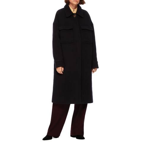 VICTORIA, VICTORIA BECKHAM Navy Patch Pocket Wool Coat