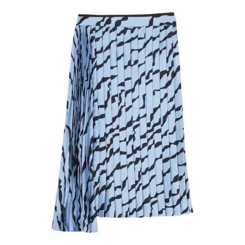 VICTORIA, VICTORIA BECKHAM Steel Blue/Black Double Pleat Skirt