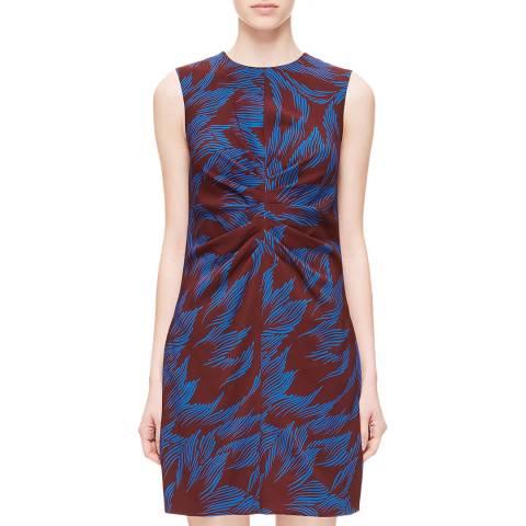 VICTORIA, VICTORIA BECKHAM Garnet/Lapis Tuck Front Shift Dress